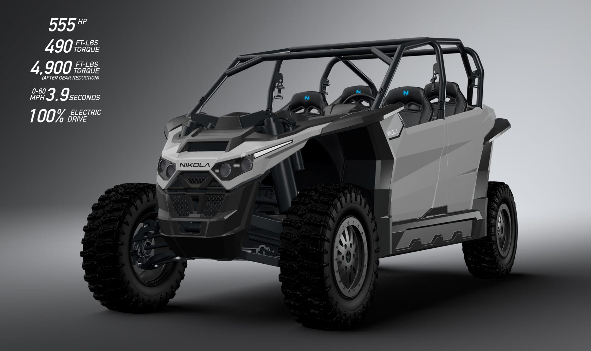 555-hp Nikola electric side-by-side tears through dirt for up to 200 miles a charge