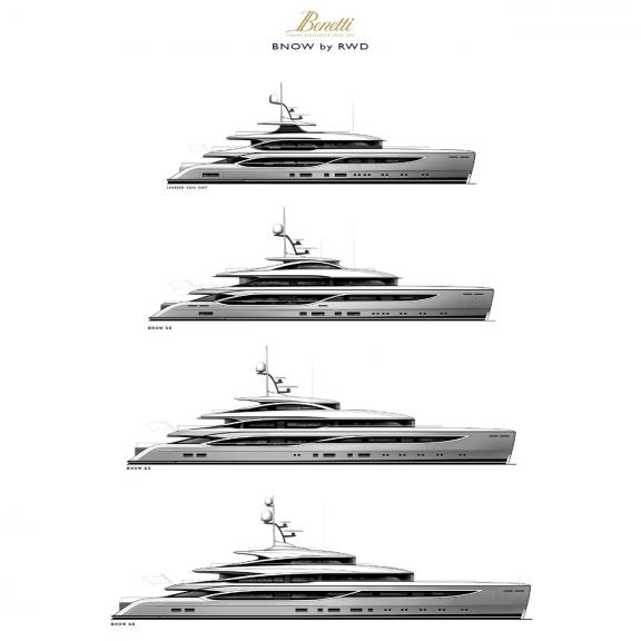 "Benetti previews four new ""BNow by RWD"" models to be built at the Livorno shipyard with reduced delivery times."